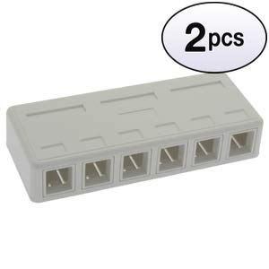 GOWOS (2 Pack 6 Port RJ45 Surface Mount Box White (Box Only) (Surface Mount Box 6 Port)