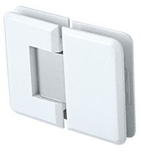 CRL Pinnacle 580 Series White with Chrome Accent 180º Glass-To-Glass Hinge with 5º Offset by C.R. Laurence