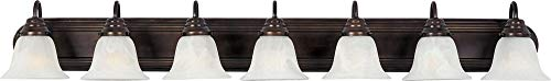 (Maxim 8016MROI Essentials in Oil Rubbed Bronze Finish - Damp Rated Vanity Lights - 7 Lightings Lamp Set. Wall Lighting)