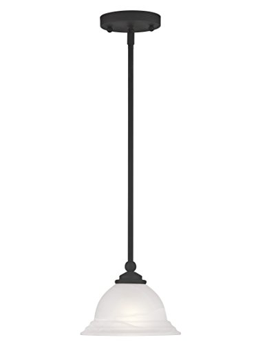 Livex Lighting 4256-04 North Port 1 Light Black Mini Pendant with White Alabaster Glass