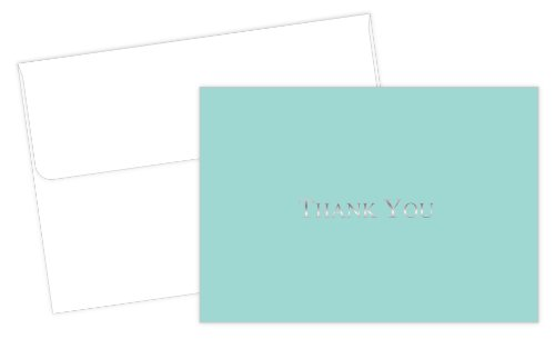Hortense B. Hewitt 20 Count Bella Blue Foil Thank You Note Cards and - And Blue Silver Tiffany