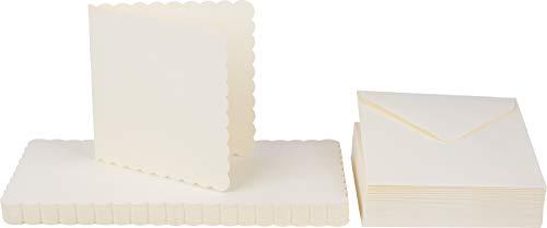 Crafts UK 50Elfenbein Scalloped Karten und Umschläge, 5x 5