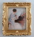 Melody Jane Dolls Houses House Miniature Accessory First Piano Lesson Picture Painting Gold Frame