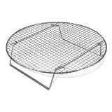 : Chrome-Plated Cross-wire Cooling Rack, Wire Pan Grate, Baking Rack, Icing Rack, Round Shape, 2-Height Adjusting Legs - 10 ½ Inch Diameter (1)