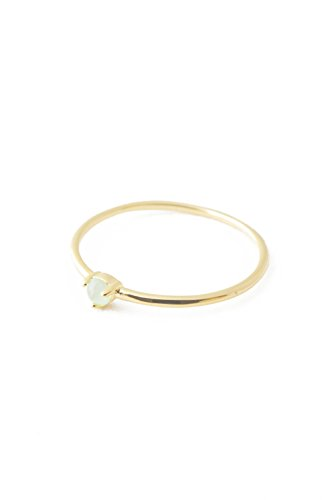 - HONEYCAT Green Jade Point Crystal Ring in 24k Gold Plate | Minimalist, Delicate Jewelry (Gold, 5)
