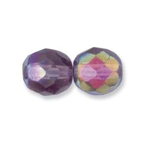 Czech Fire Polish Glass Beads 6mm Round Amethyst AB (25) 940002