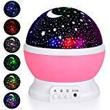 - Adoric Kids Night Light, Star Moon Light Rotating Projector, 4 LED Bulbs 8 Modes USB Cable, Night Lighting Lamp for Nursery Baby Children Kids Bedroom Birthday Christmas (Pink)