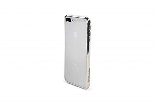 Tucano IPH75EF-SL Elektro Flex, transparente Silikonhülle mit farbigem Rand für Apple iPhone 7 Plus silber