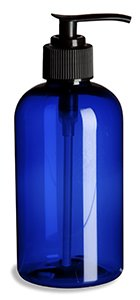 8 Oz Plastic PET Boston Round Bottle (Blue) with Pump (Set of 36)