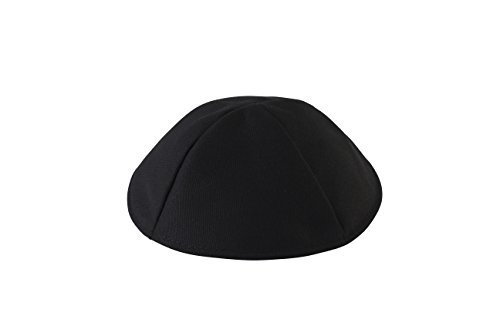 (Ahead Black Terylene Kippah - Polyester Yarmulke, Size 6 )