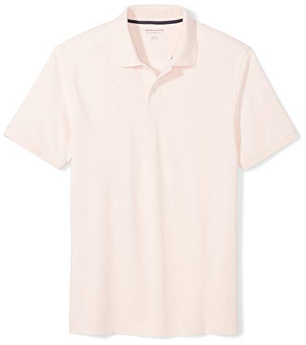 Amazon Essentials Men's Slim-Fit Cotton Pique Polo Shirt, Light Pink, ()