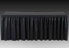 (13.5 ft Shirred (Expo) Pleat Table Skirt - Black IFR Poly Premier)