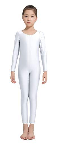 Speerise Girls Kids Long Sleeve Spandex One Piece Dance Unitard, White, - White One Long Sleeve Piece
