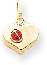 Quality Gold Red Enameled Puffed Heart with Ladybug Charm, 14K Yellow Gold ()