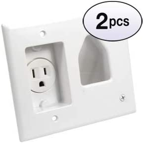 2 Pack White GOWOS Recessed Low Voltage Cable Plate with Recessed Power