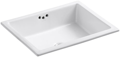 KOHLER K-2330-G-0 Kathryn Undercounter Bathroom Sink with Glazed Underside, White