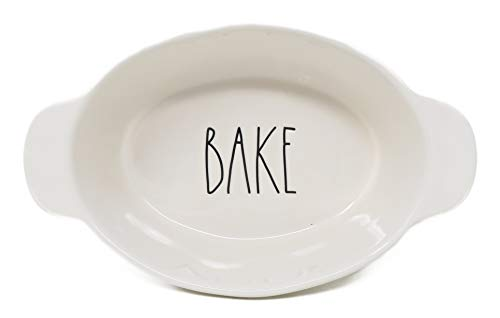 Rae Dunn By Magenta LL Oval 'Bake' Dish with Handles - Large Oval Bake Dish