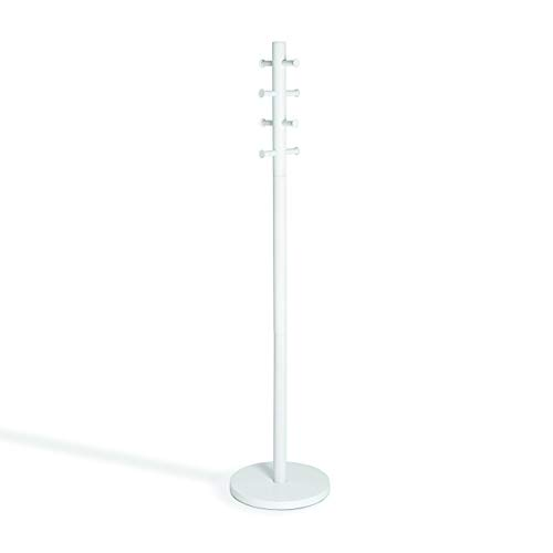 Umbra Pillar Coat Rack, Clothing Hanger, Umbrella Holder, and Hat Organizer, Great for Entryway, White/Nickel ()