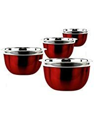 (New Prime Pacific 4-piece Red Stainless Steel Euro Style Bowl)