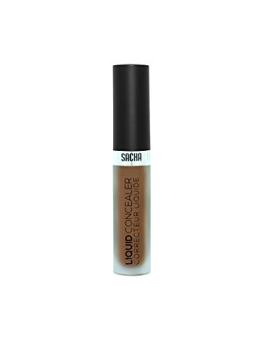 Liquid Concealer by Sacha Cosmetics, Best Full Coverage Camouflage Liquid Makeup Foundation, Matte Poreless Face & Eye Cover Up Concealer, 0.06 oz, Cover Me Deep