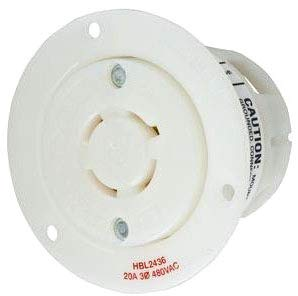 Hubbell Wiring Systems HBL2436 WP2 Insulgrip Twist-Lock Wall Plate Flanged Receptacle Weatherproof Cover, 20 Amp, 480VAC, 3 Pole, 4 Wire, Grounding, 3-1/16