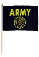 One Dozen Army (Gold) Stick Flags, 12″ x 18″