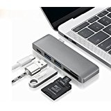 USB C Hub - Type C Hub Adapter/Charger with Type C Charging Port, Card Reader, 2 USB 3.0 Ports for MacBook Pro 2015/2016, Google Chromebook 2016/2017 and more USB C Devices (Space Grey)