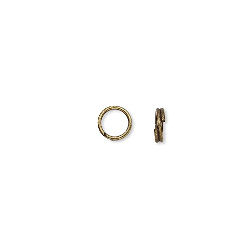 - 100 Plated Steel 5mm Round Double Loop Split Ring Jewelry Findings (Antique Brass)