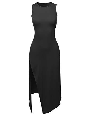 Solid One Side Slit Tank Maxi Dress Black S
