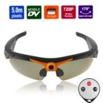 090A 170 Degree Wide Angle Viewing 5.0M Pixels 720P Sports HD Video Sunglasses with TV Out (Black)