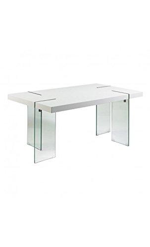 CAMINO A CASA - Mesa de Comedor Design Blanca 160 cm Cristal ...