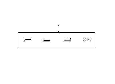 Ford Nameplate (OEM Ford Flex Silver Titanium Hood Letters Emblem DA8Z16606A)