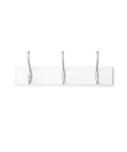 AmazonBasics Wall Mounted Standard Coat Rack - 3 Hook, 2-Pack, White
