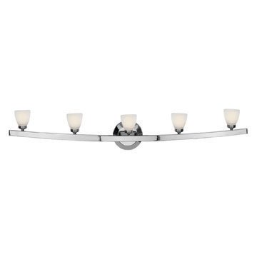 Sydney - 5-Light Cone Glass Vanity - Chrome Finish - Opal Glass (Sydney Vanity Wall Fixture)