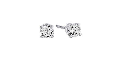 10k Solid White Gold Diamond Solitaire Stud Earrings with Screw Back & Post (I2-I3, J-K ), 1/10 Cttw (0.1 Carat)