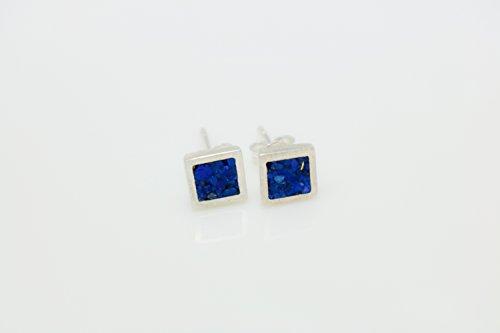 Square Lapis Lazuli Micro Mosaic Sterling Silver Stud Earrings, Semi Precious Gemstone by Handmade Studio - Lapis Lazuli Tiles