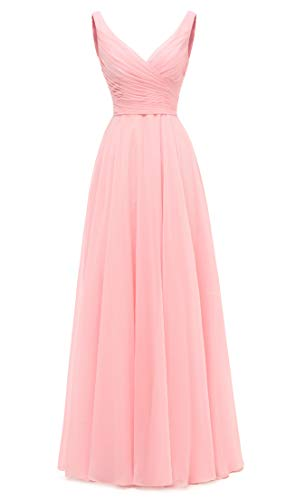 AlfaBridal Long Bridesmaid Dresses Double V Neck Chiffon Wedding Evening Gown Pink US14 (Gown Pink)