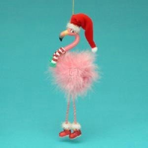 Kurt Adler Full Round Resin Flamingo With Dangle Legs Ornament (Tacky Christmas Ornament)
