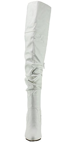 Per Sempre Da Donna Focus-33 Flip-top Slouch Over The Knee Con Tacco Alto Stivali Bianchi