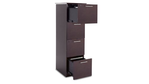 Taft Vertical 4-Drawer Filing Cabinet in Walnut Finish with Chrome