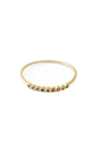 HONEYCAT Rainbow Tiny Crystal Bezel Ring in 24k Gold Plate | Minimalist, Delicate Jewelry ()
