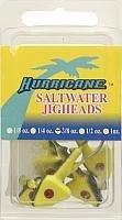 Hurricane Saltwater Jig Head, 3/8-Ounce, Chartreuse/Black