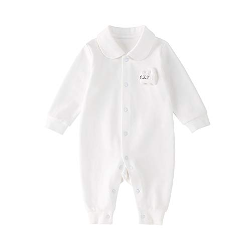 pureborn Baby Coverall Christening Jumpsuit Adorable Cat Long Sleeve One-Piece White 9-12 Months