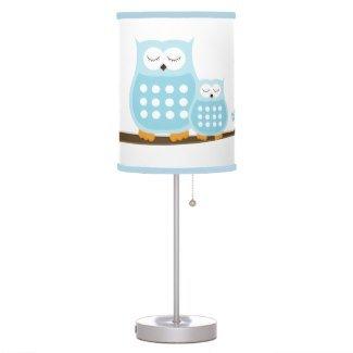 Blue Owl Nursery Lamp white background with light blue trim