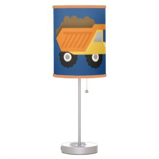 Construction Dumptruck Boys Room Lamp - Navy Blue and Orange