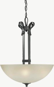 Forte Lighting 2396-04-11 Transitional 4-Light Pendant with Shaded Umber Glass, Natural Iron Finish