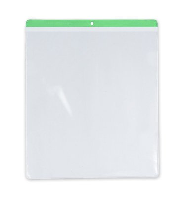 10'' x 12'' Short-Side Opening Vinyl Envelopes with Green Header & Hang Hole (7.5 Gauge) (100 Envelopes) - AB-99-7-71G by Miller Supply Inc