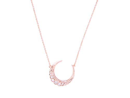 NORTHSTAR PEARLS AND JEWELRY: Crescent Moon Necklace, Available in Three Colors. (Rose Gold with White Crystals)