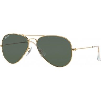 Ray Ban RB3025 Aviator Sunglasses-001/58 Gold Gold (Green Polar Lens)-58mm - Rb3025 Aviator