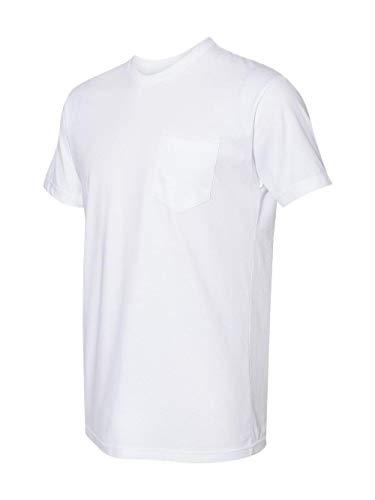 (Next Level Men's Pocket Crew T-Shirt, White, Medium)